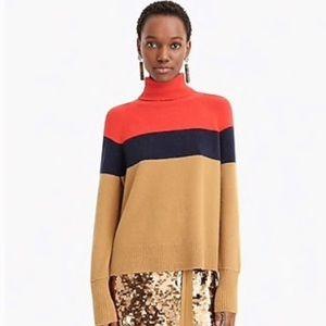 Jcrew colorblock turtleneck sweater supersoft yarn
